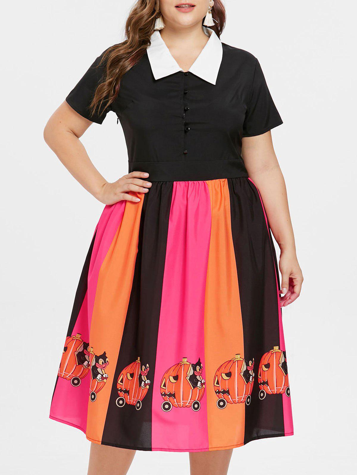 Discount Halloween Plus Size Pumpkin Print Fit and Flare Dress