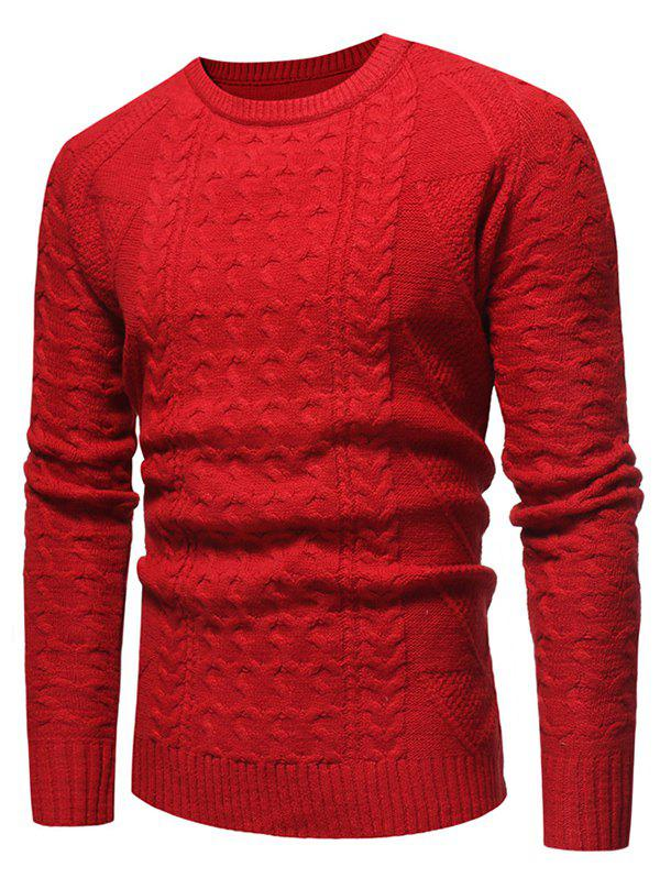 Online Jacquard Weave Crew Neck Sweater