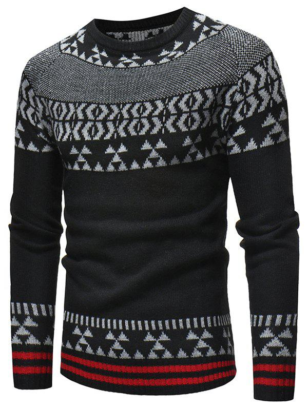 Shops Geometrical Pattern Crew Neck Knitted Sweater