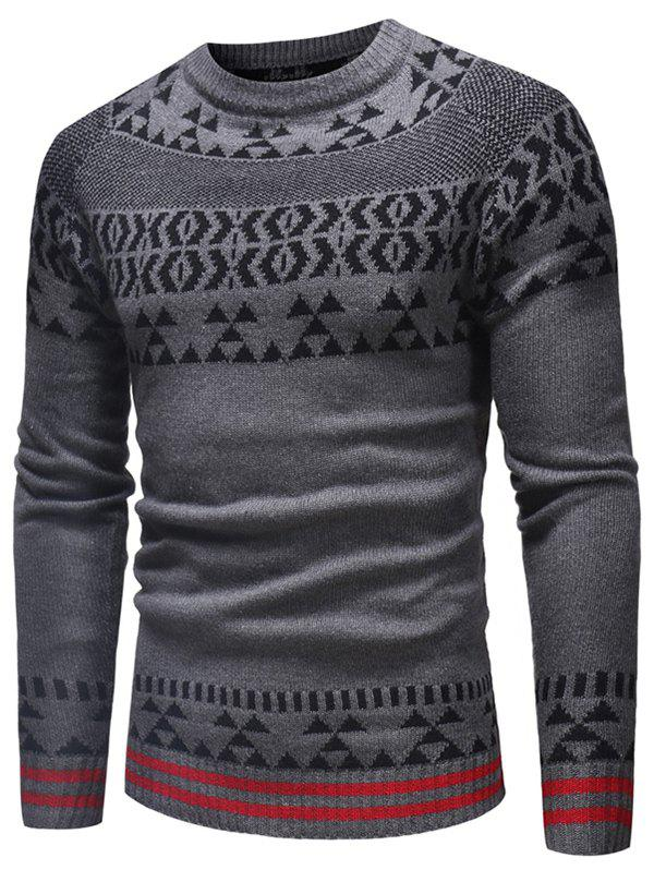 Store Geometrical Pattern Crew Neck Knitted Sweater