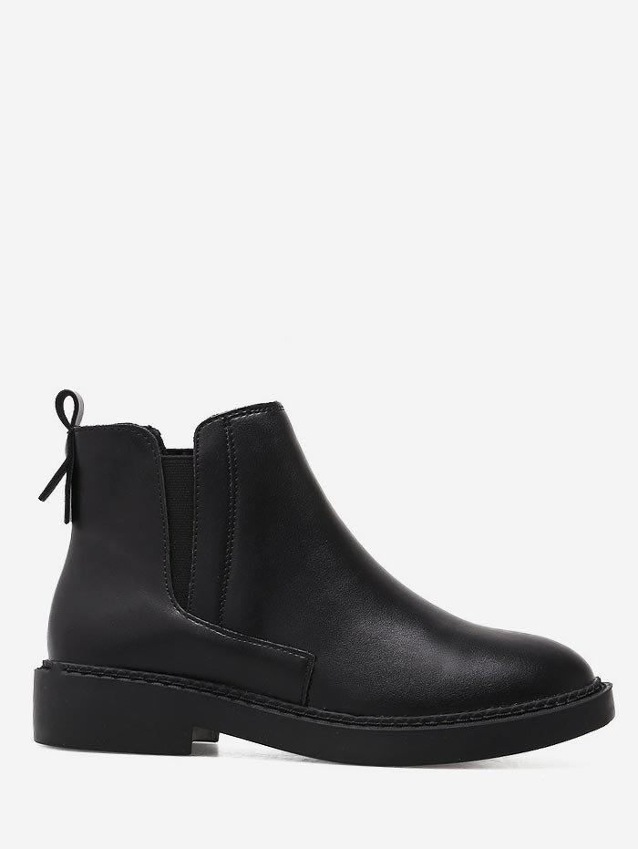 Sale Tie Back PU Leather Slip-on Boots