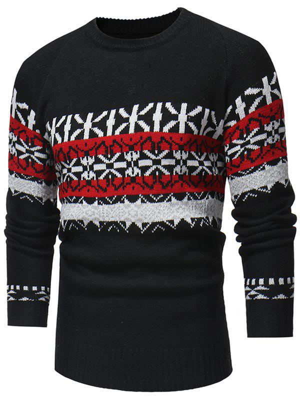Chic Jacquard Weave Pullover Casual Sweater