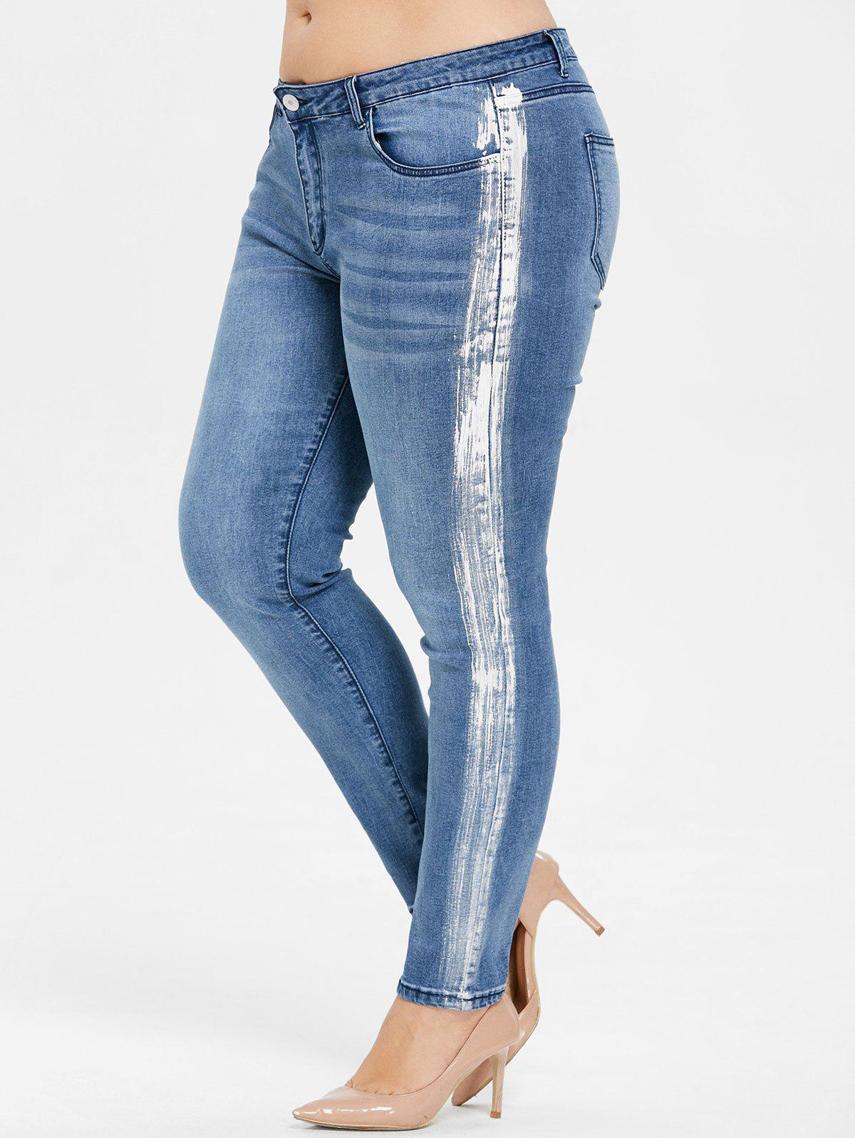 Affordable Plus Size Mid Rise Paint Skinny Jeans