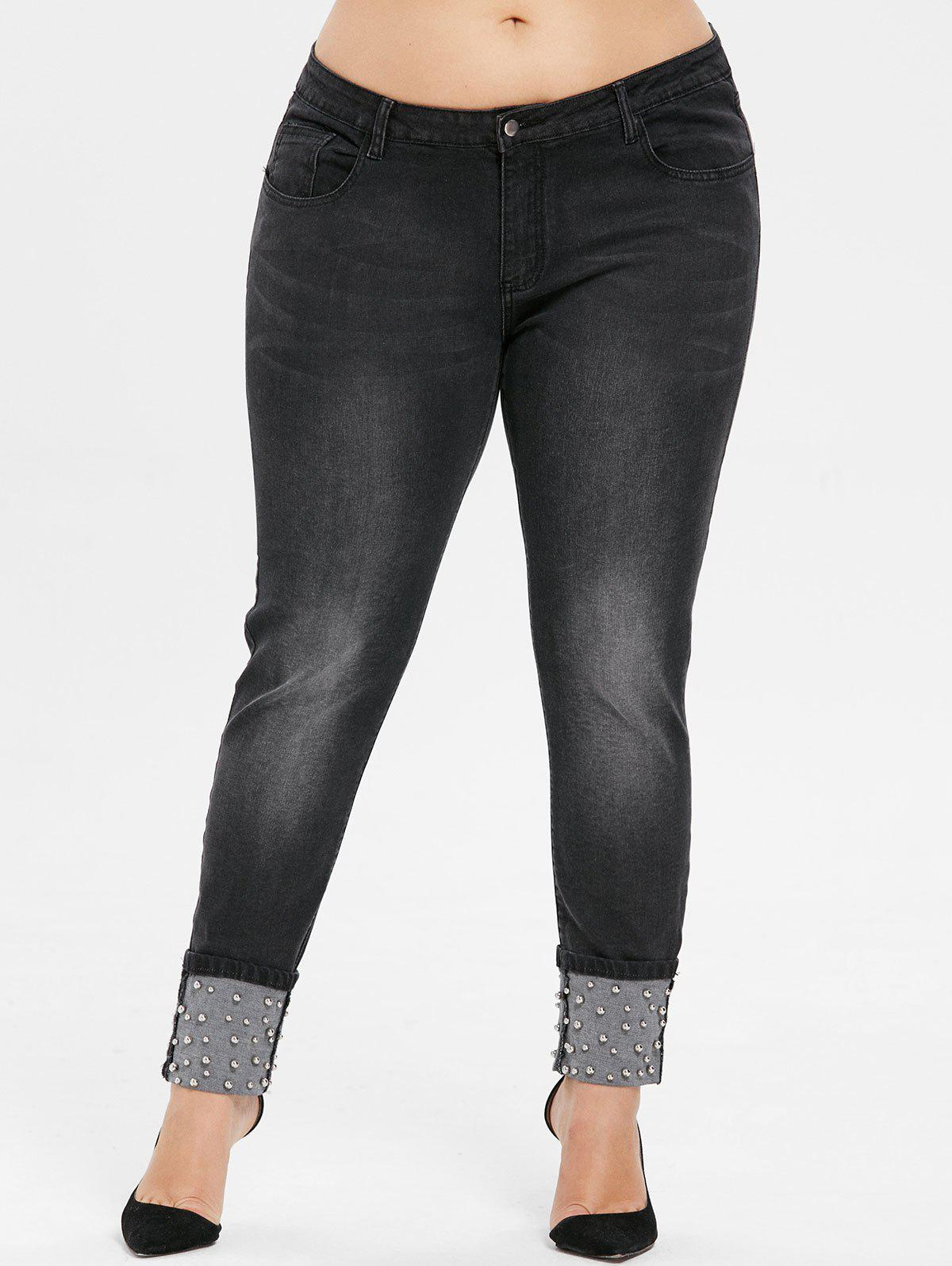Fancy Plus Size Beading Cuffed Jeans