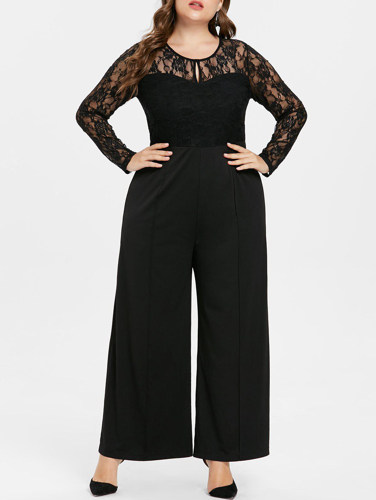 Discount Lace Panel Plus Size Long Sleeve Jumpsuit