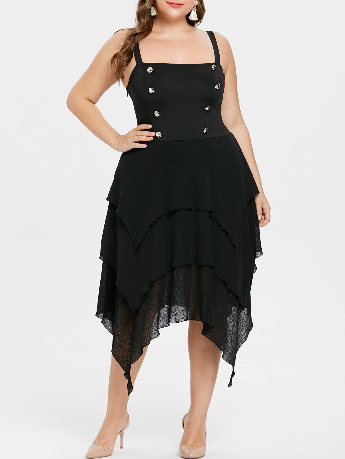Trendy Plus Size Double Breasted Halloween Dress