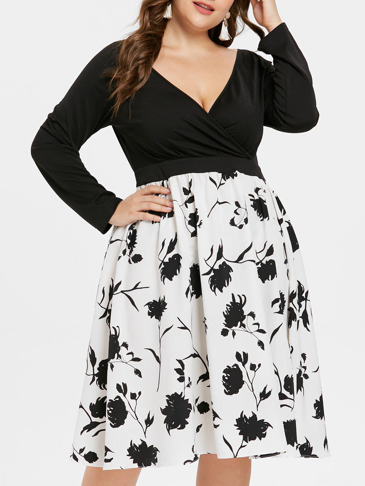 Unique Plus Size Floral Surplice Dress