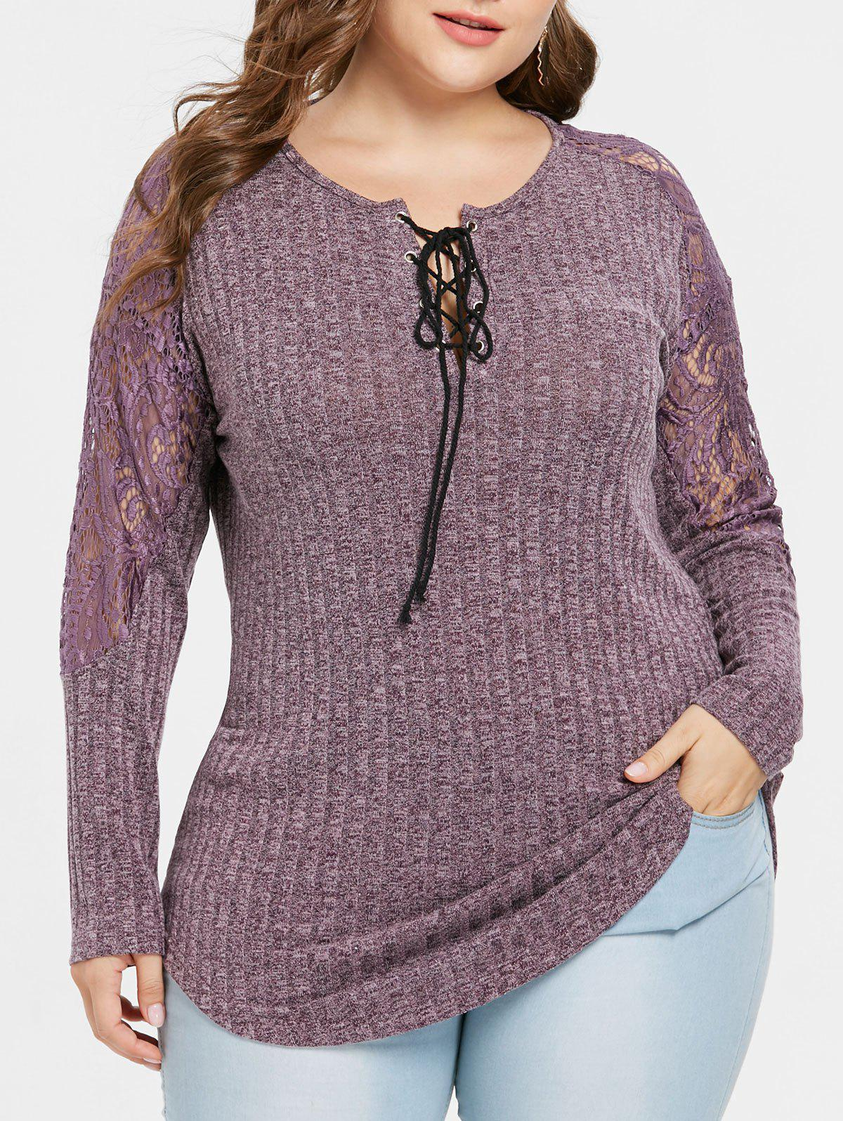 Shop Plus Size Lace Panel Ribbed Marled Knitwear