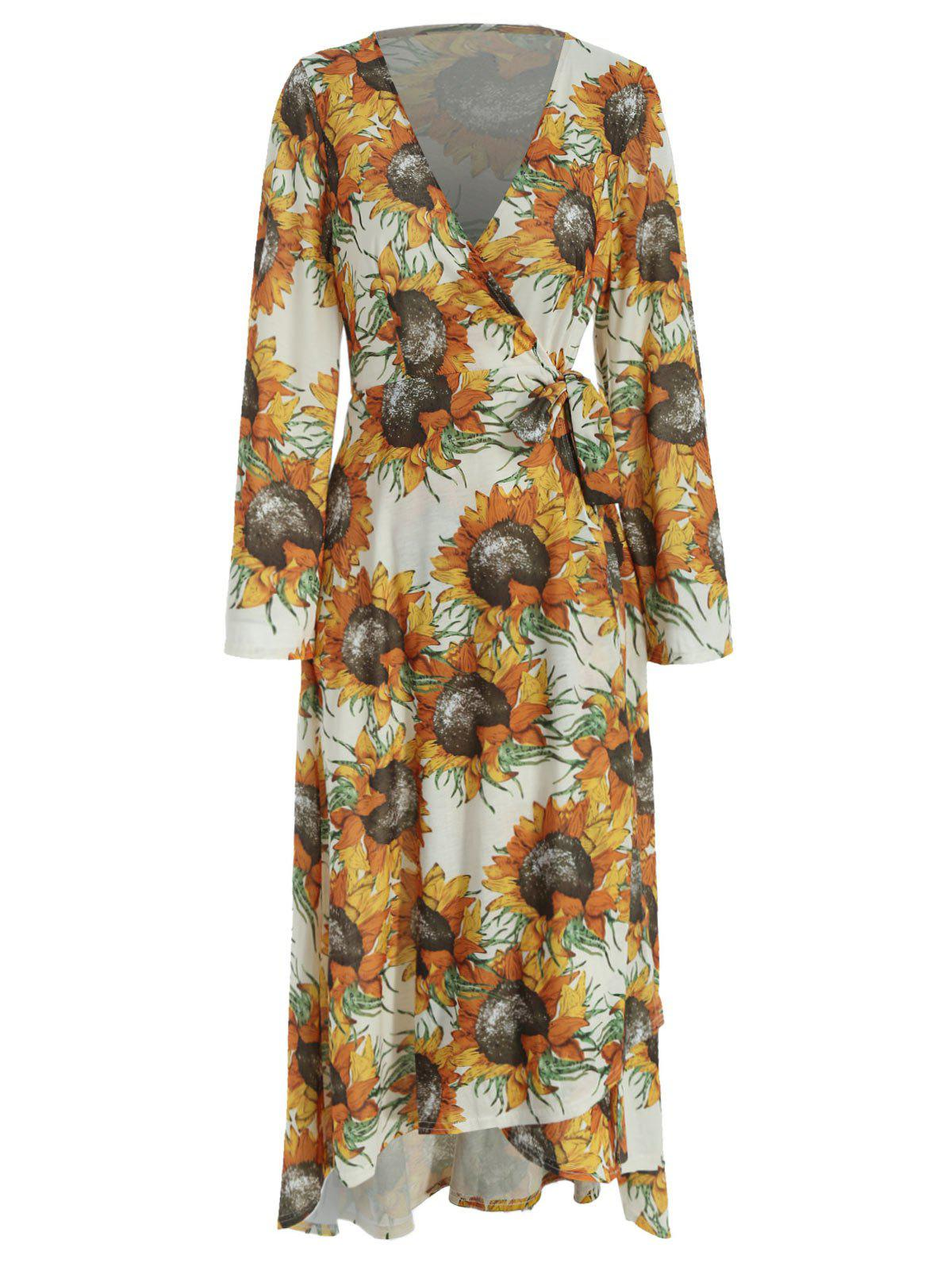 Outfit Long Sleeve Sunflower Print Wrap Dress