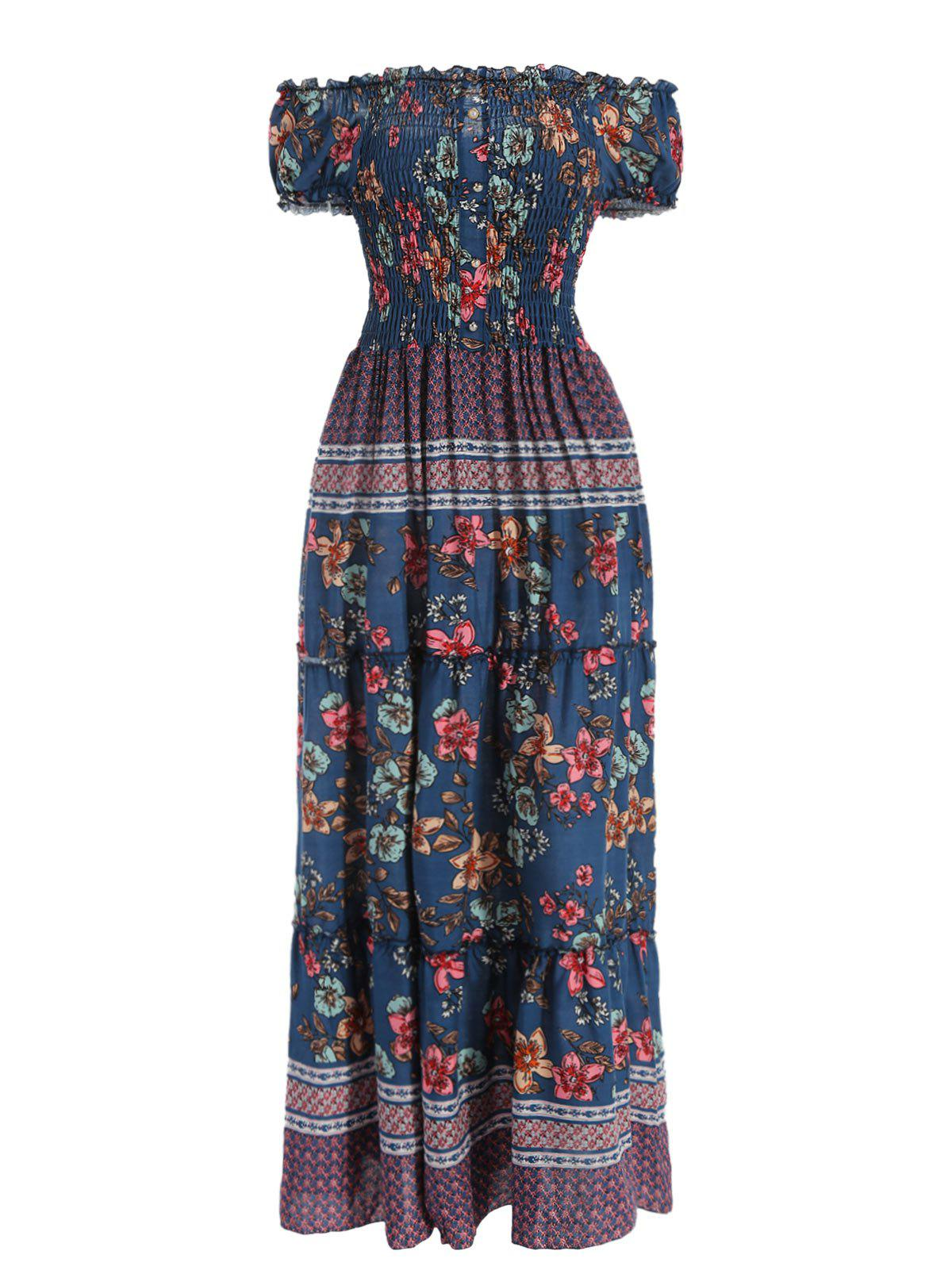 Unique Off The Shoulder Floral Print Maxi Dress