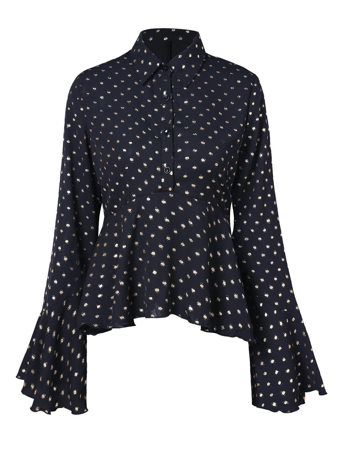 Discount Polka Dot Long Sleeve Skirted Shirt