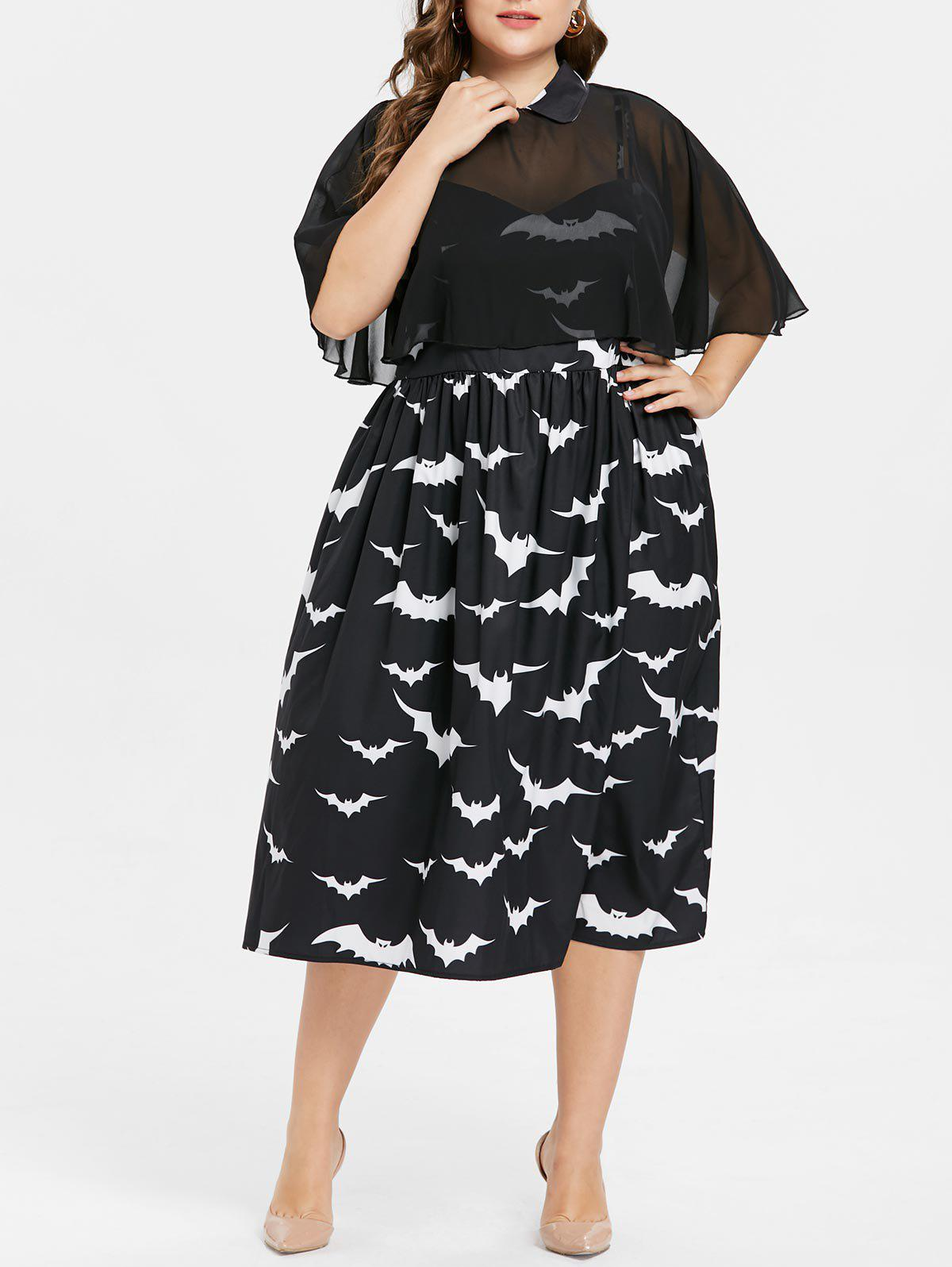Fancy Plus Size Halloween Bat Print Capelet Dress
