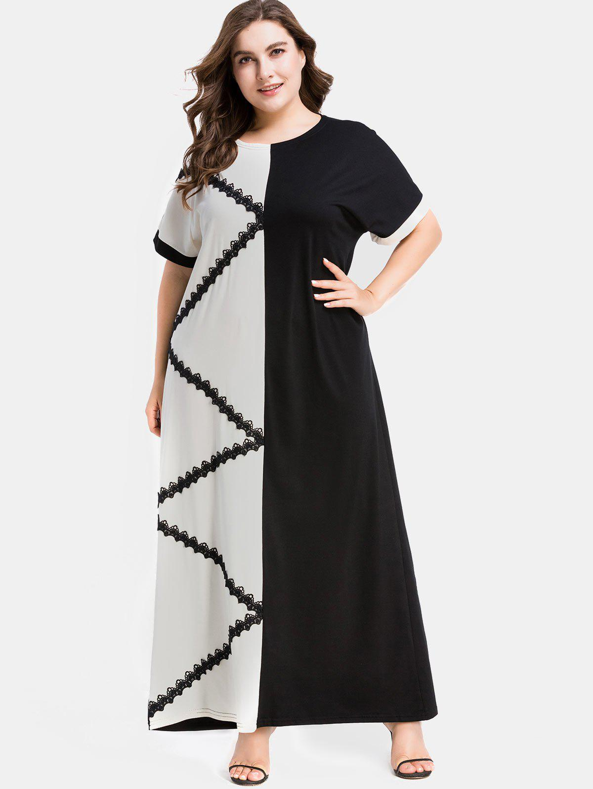 Plus Size Lace Chevron Maxi Dress