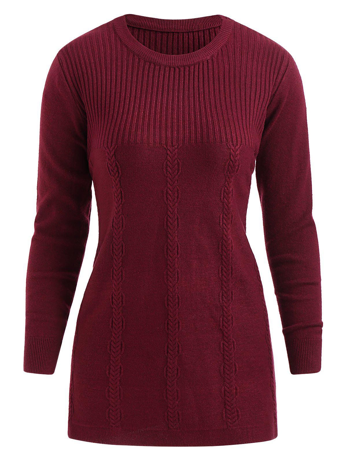 Fashion Round Neck Plus Size Cable Knit Pullover Sweater