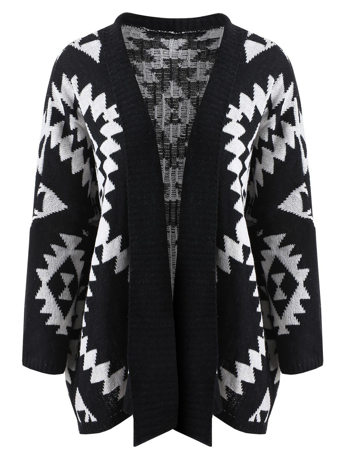 Affordable Collarless Geometric Pattern Cardigan