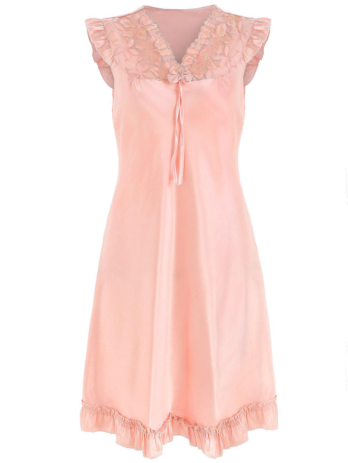 Trendy Bowknot Lace Panel Satin Sleeping Dress