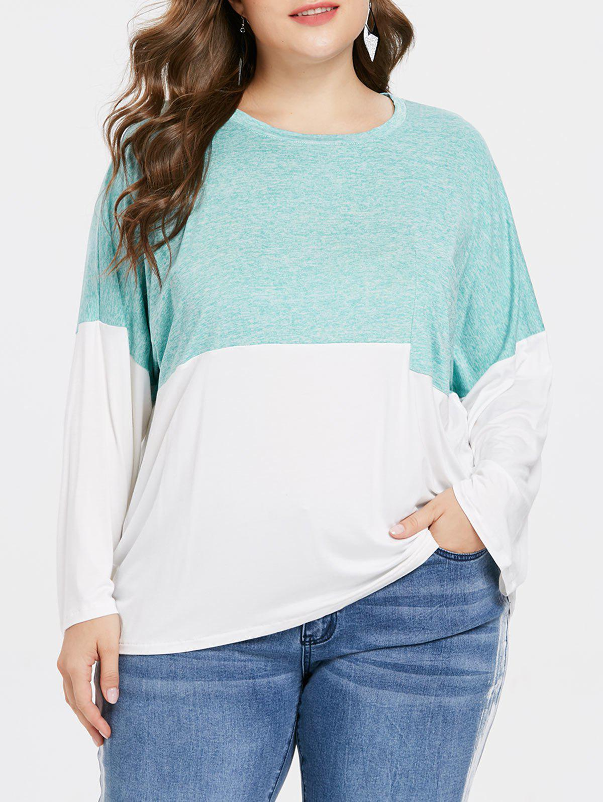 Outfits Color Block Plus Size Breast Pocket T-shirt