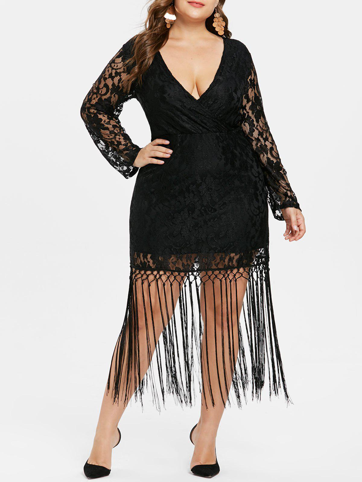 0d946530034 37% OFF  Plus Size Long Sleeve Lace Tassel Dress