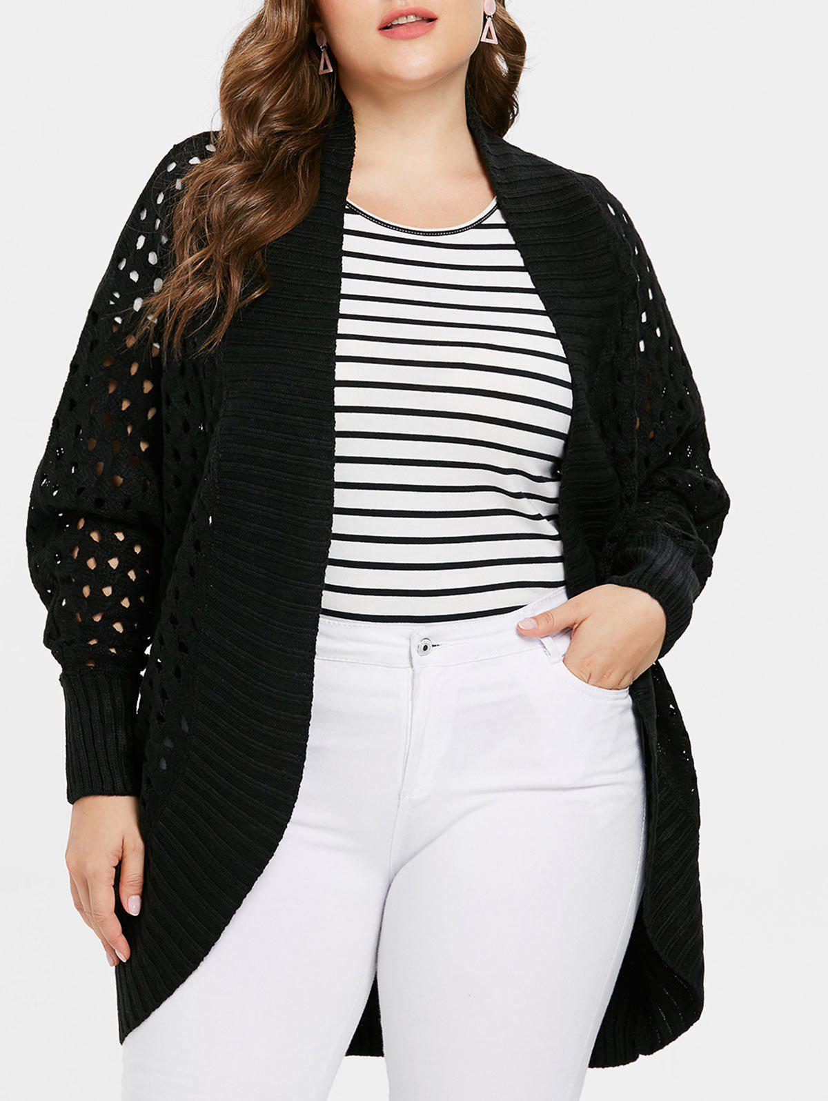 New Collarless Plus Size Cut Out Cardigan
