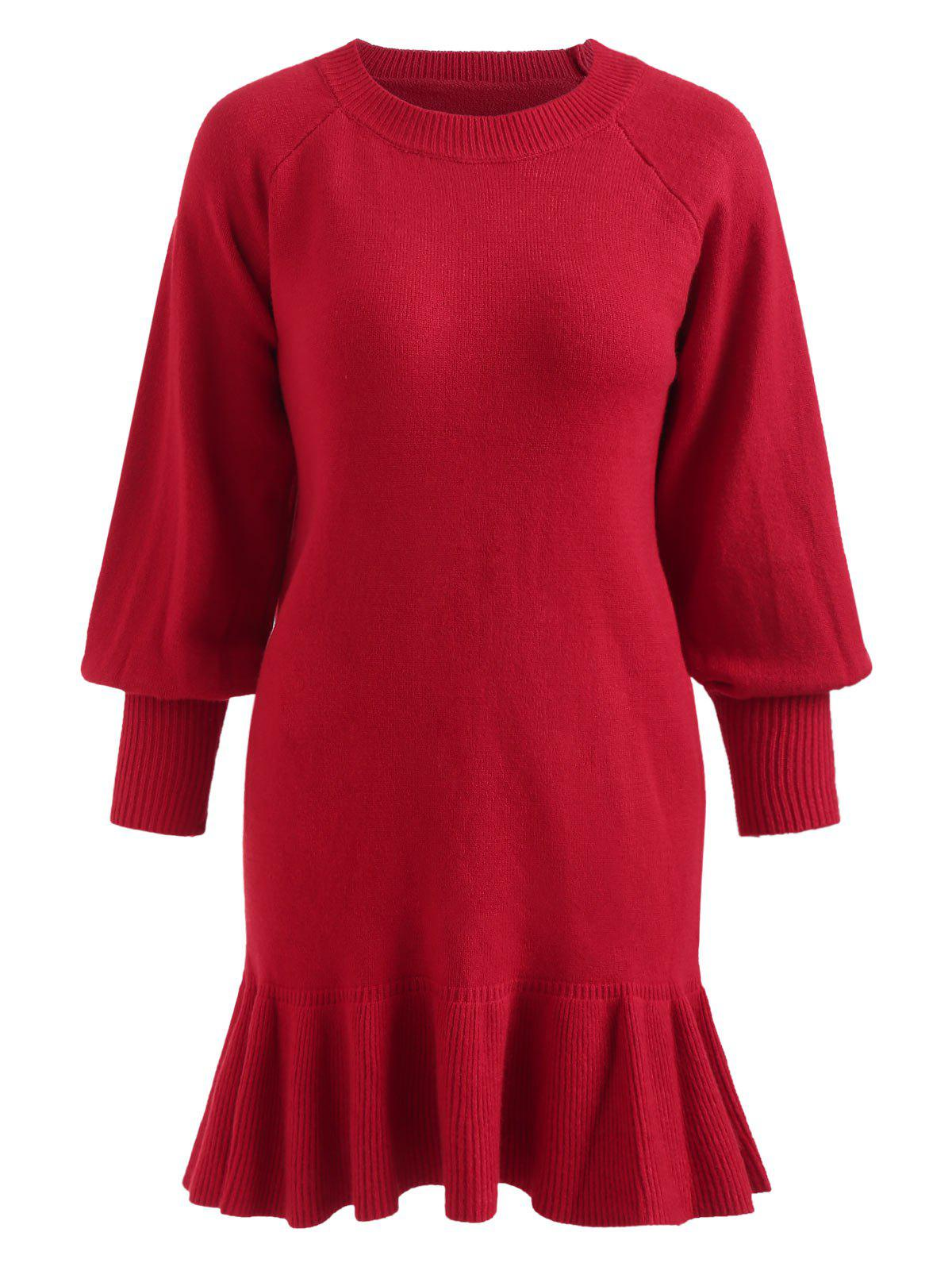 Store Puff Sleeve Plus Size Ruffle Hem Sweater Dress