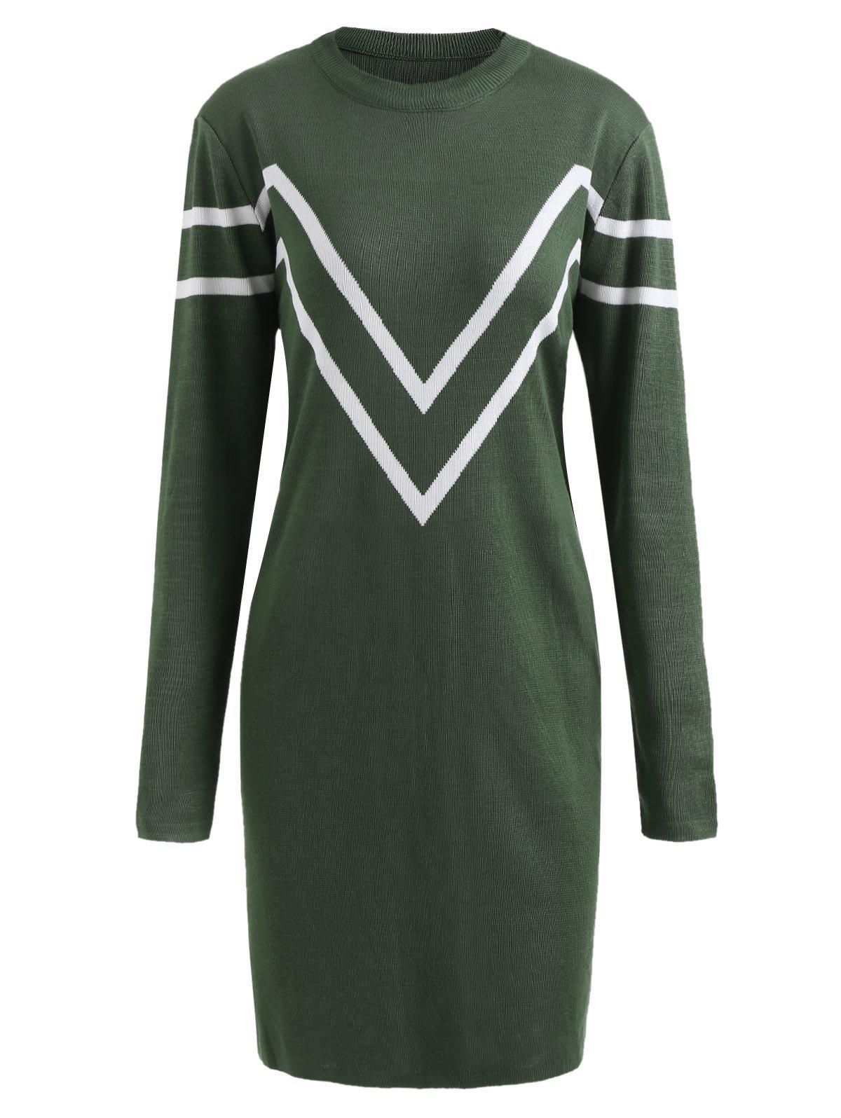 33% OFF] Plus Size Chevron Long Sleeve Sweater Dress | Rosegal