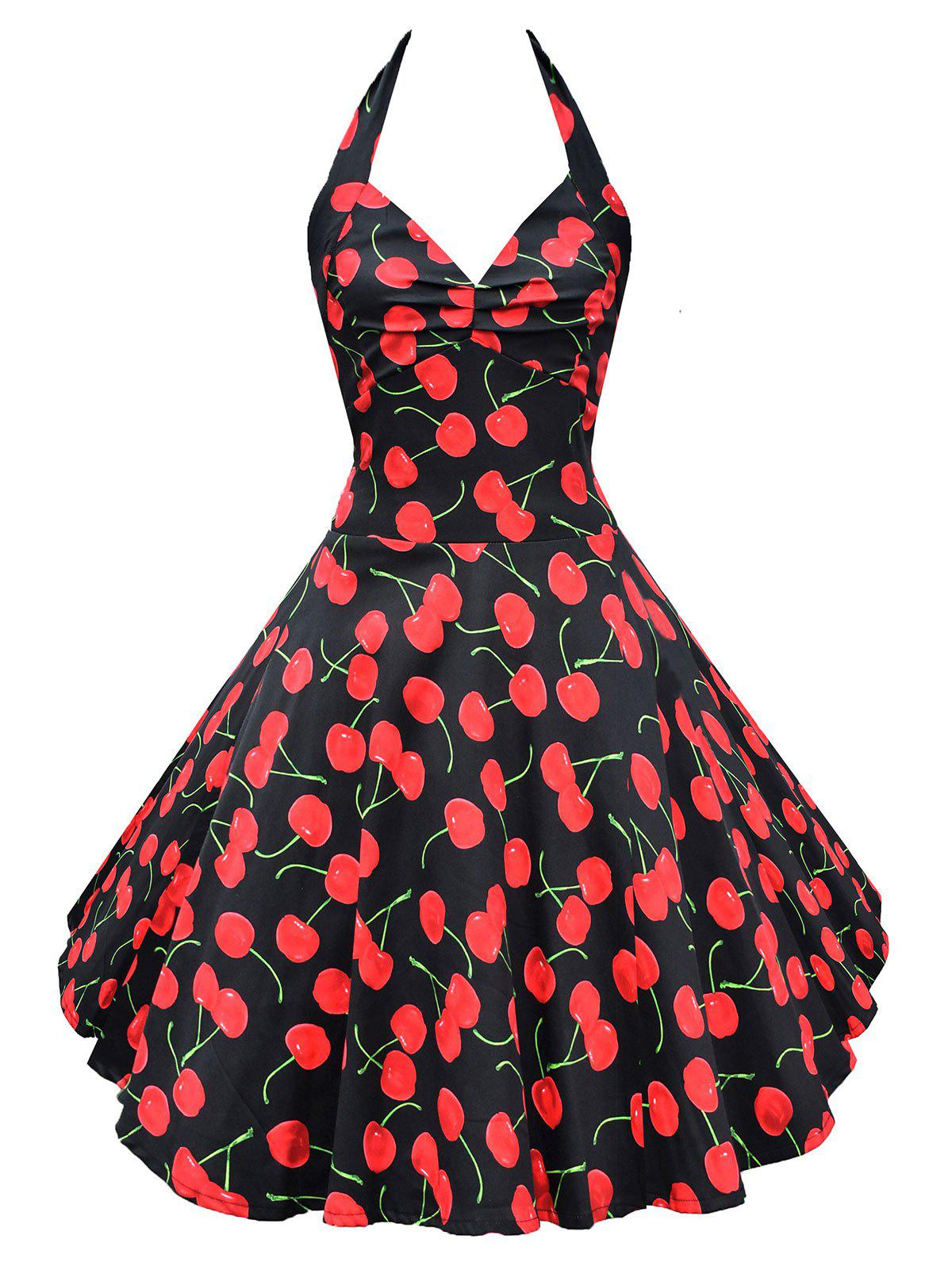 Fancy Retro Halter Cherry Print Backless Flare Dress