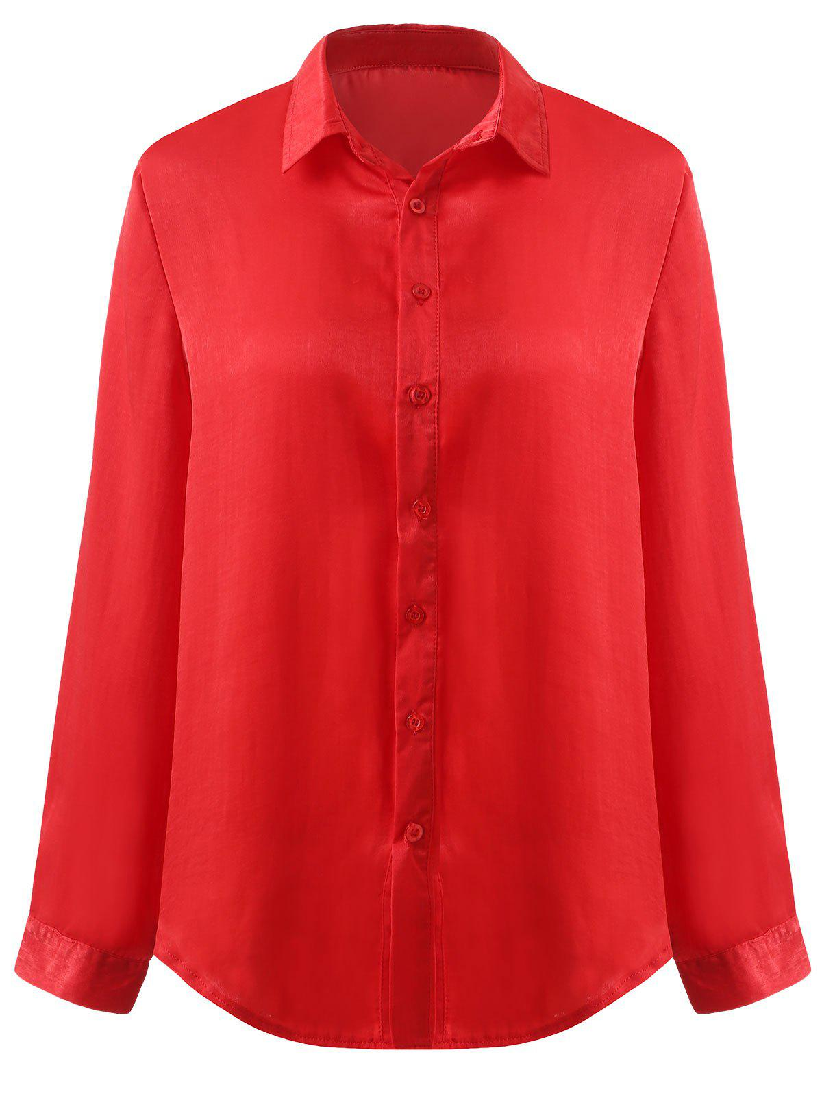 Cheap Lapel Neck Long Sleeve Blouse