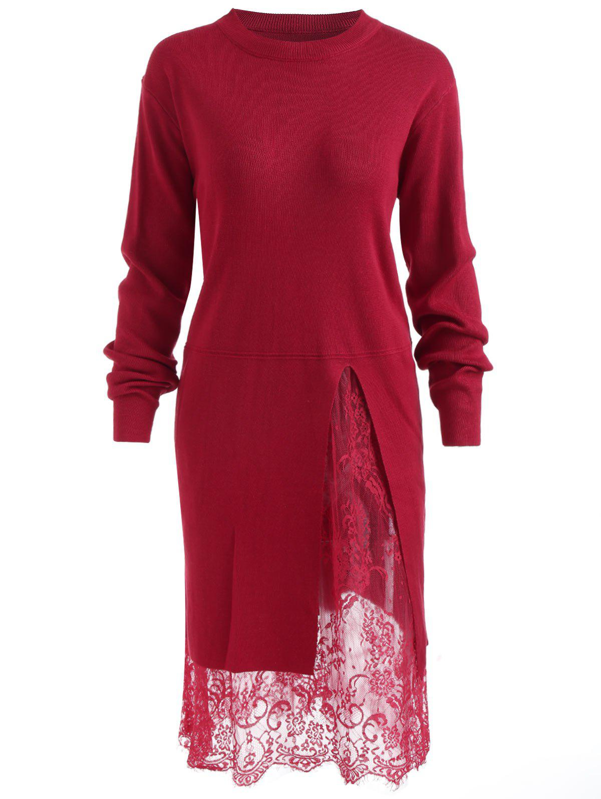 Best Lace Panel Plus Size Pullover Sweater Dress