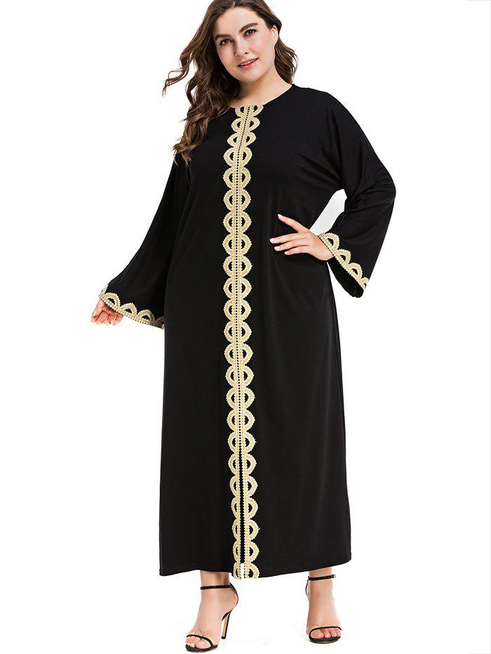 Fashion Plus Size Shiny Trim Maxi Dress