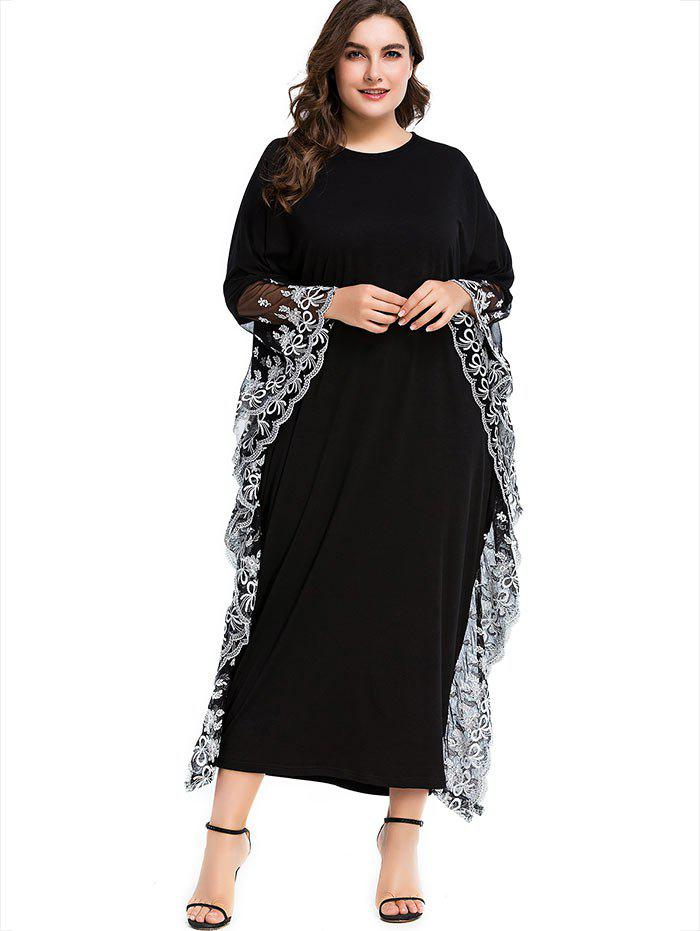 Discount Lace Trim Plus Size Maxi Formal Dress