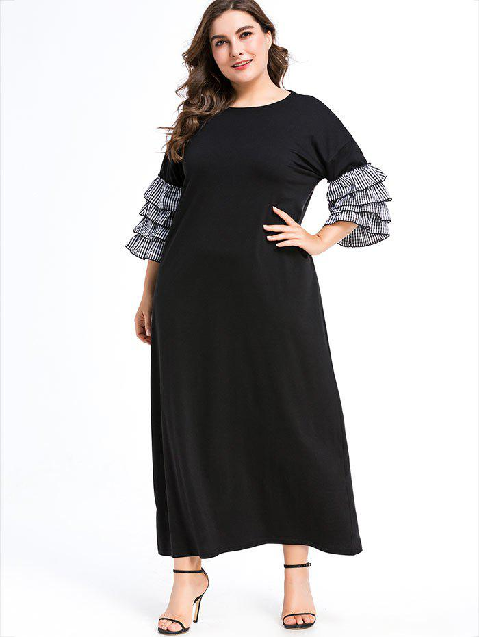 Chic Plus Size Layered Ruffled Sleeve Maxi Dress