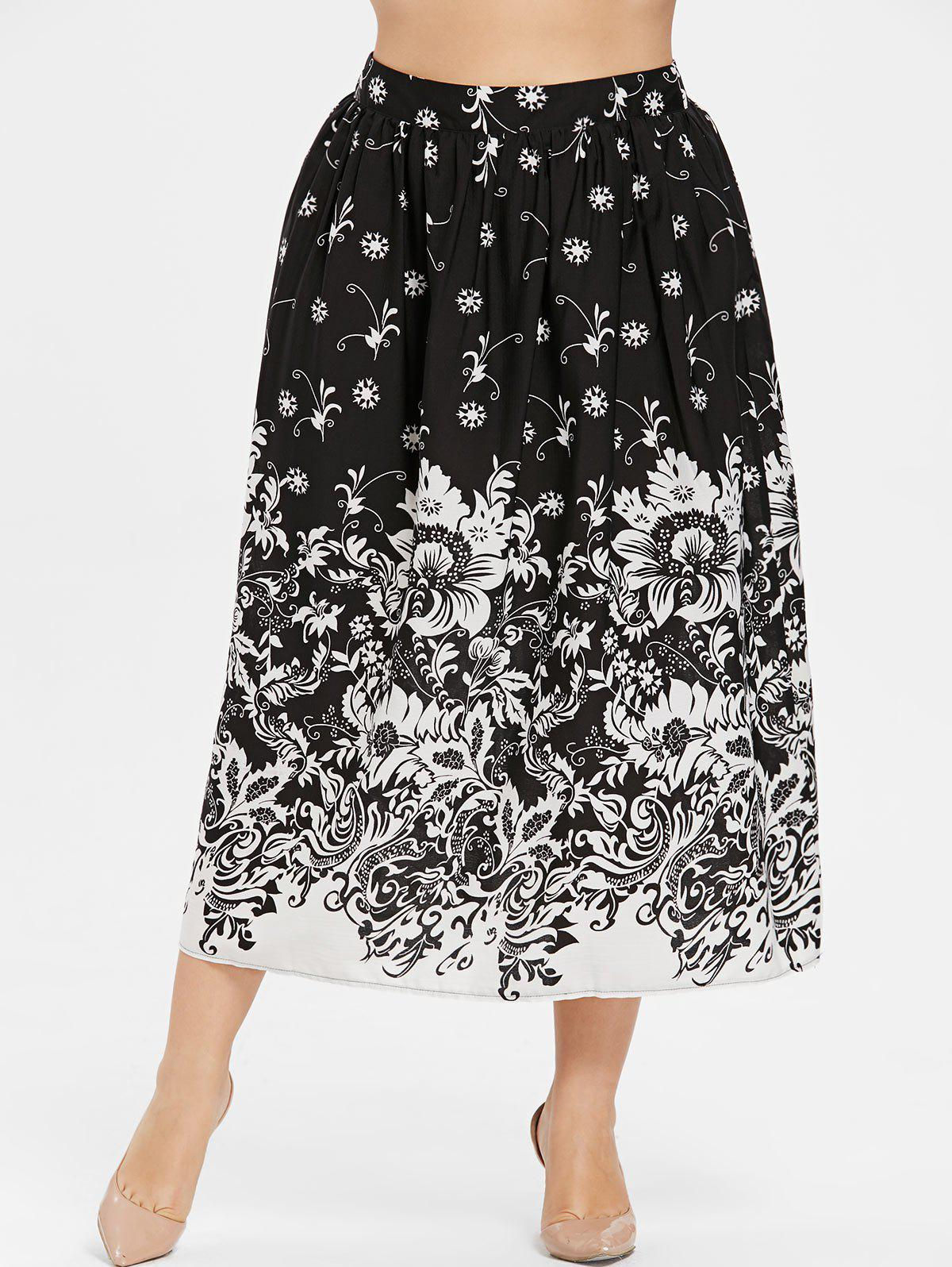 Shops Plus Size Floral Print Tea Length Skirt