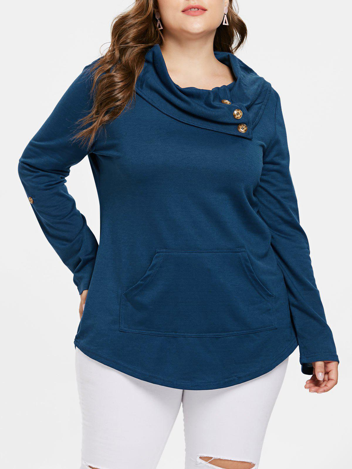 Fashion Kangaroo Pocket Plus Size Cowl Neck Sweatshirt