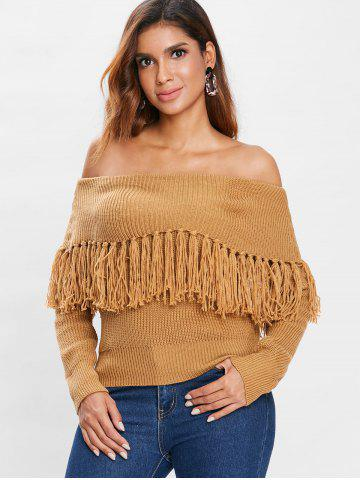 Off Shoulder Overlap Tassels Sweater