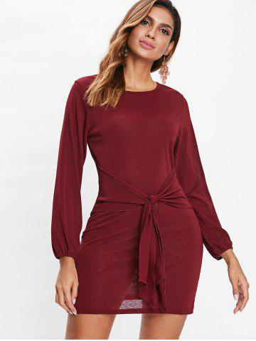Full Sleeve Mini Belted Dress
