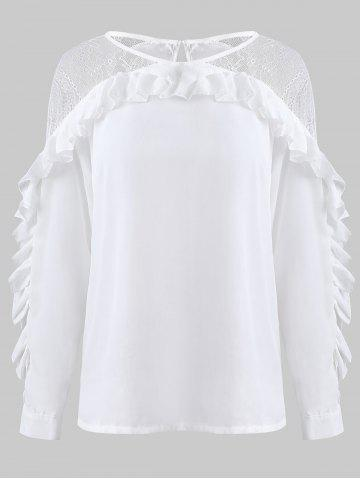 Lace Insert Lettuce Trim Long Sleeve Blouse