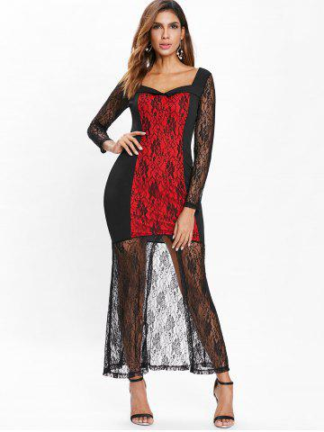 Full Sleeve Halloween Floral Lace Dress