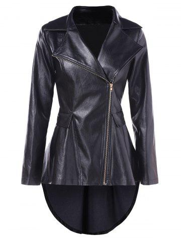 High Low Faux Leather Tunic Jacket