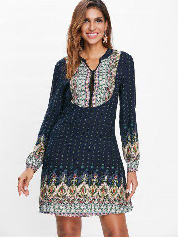 Buttoned Ethnic Print Dress