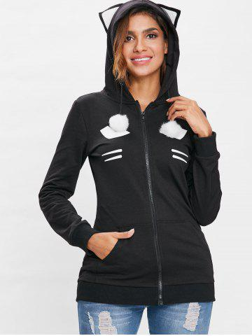 Zip Up Black Cat Hoodie with Pom Ball