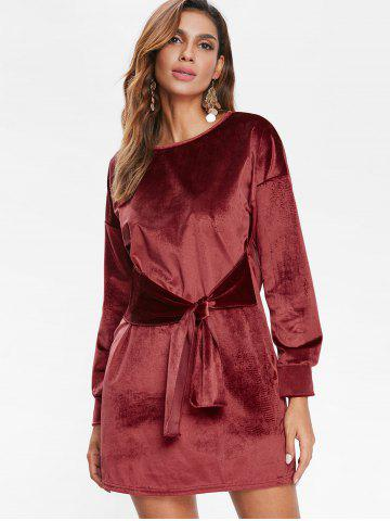 Tie Front Velvet Straight Dress