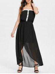 Half Buttons Bandeau Strapless Chiffon Dress -