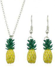 Pineapple Design Pendant Chain Necklace Earrings Set -