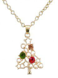 Vintage Rhinestone Hollow Out Christmas Necklace -