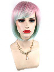 Short Side Bang Colorful Straight Bob Synthetic Wig -