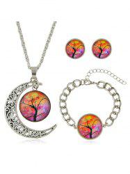 Crescent Moon Tree Printed Pendant Necklace Bracelet Earrings Set -