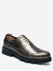 PU Leather Lace Up Chunky Work Shoes -
