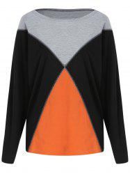 Batwing Sleeve Contrast T-shirt -