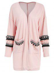 Embroidered Longline Pockets Cardigan -