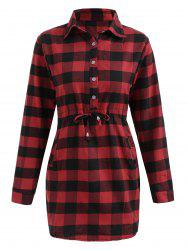 Full Sleeve Button Up Tartan Dress -